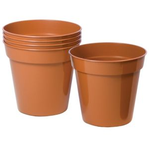 View Plastic Terracotta Plant Pot (Dia)12.7cm, Pack of 5 details
