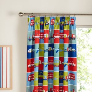 View Transport Blue, Green & Red Bus, Car & Plane Pencil Pleat Children's Curtains (W)167cm x (L)137cm details