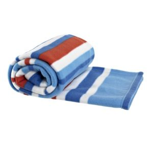 View Transport Blue, Red & White Striped Fleece Blanket details