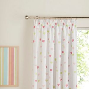 View Green, Pink & White Hearts Pencil Pleat Children's Curtains (W)167cm x (L)137cm details