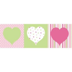 View Hearts Green, Pink & White Box Art Set (W)20cm x (H)20cm details