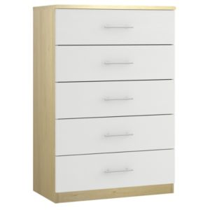 View Form White Oak Effect 5 Drawer Wide Chest (W)800mm details