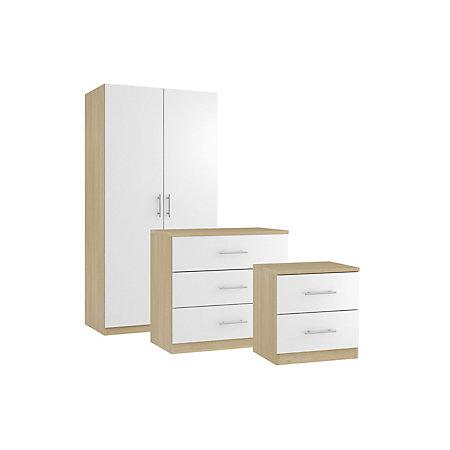Darwin Oak Effect White Piece Bedroom Furniture Set