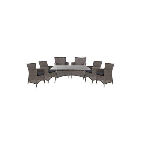 Comoro Rattan Effect 6 Seater Dining Set