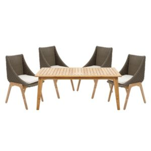View Retro Rattan Effect 4 Seater Dining Set details