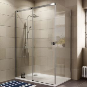 View Cooke & Lewis Luxuriant Rectangular Shower Enclosure with Single Sliding Door (W)1370mm (D)870mm details