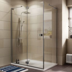 View Cooke & Lewis Luxuriant Rectangular Shower Enclosure with Hinged Door (W)1370mm (D)870mm details