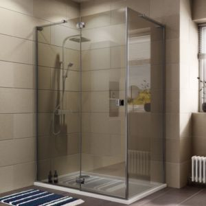View Cooke & Lewis Luxuriant Rectangular Shower Enclosure with Hinged Door & Semi-Mirrored Glass (W)1370mm (D)870mm details