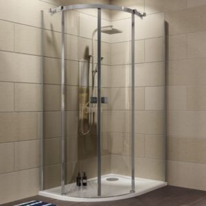 Cooke & Lewis Luxuriant Offset Quadrant RH Shower Enclosure  Tray & Waste Pack with Double Sliding Doors (W)1200mm (D)90