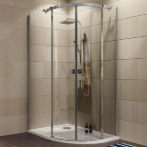 Cooke & Lewis Luxuriant Offset Quadrant LH Shower Enclosure  Tray & Waste Pack with Double Sliding Doors (W)1200mm (D)90