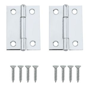 View Lightweight Chrome Effect Metal Butt Hinge, Pack of 2 details
