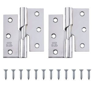 View Chrome Effect Metal Rising Butt Hinge, Pack of 2 details