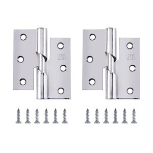 View Chrome Effect Metal RH Rising Butt Hinge, Pack of 2 details