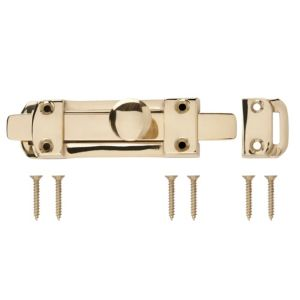View B&Q Brass Flat Bolt (L)96mm details