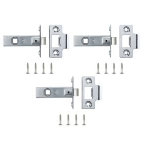 View B&Q Chrome Effect Tubular Latch, Pack of 3 details