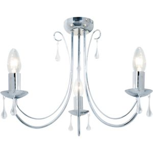 View Albany Chrome Effect 3 Lamp Ceiling Light details