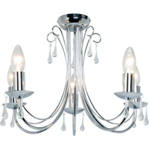 Image of Albany Silver Chrome Effect 5 Lamp Ceiling Light