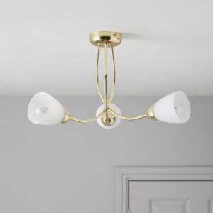 View Virgo Brass Effect 3 Lamp Ceiling Light details