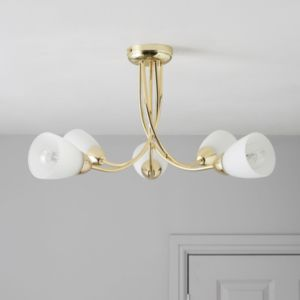 View Virgo Brass Effect 5 Lamp Ceiling Light details