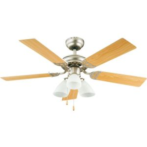View Pampero Stainless Steel Effect Ceiling Fan Light details