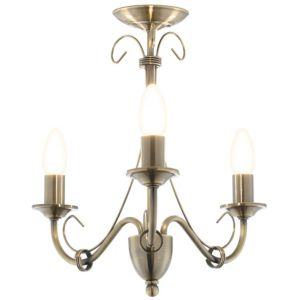 View Priory Antique Brass Effect 3 Lamp Ceiling Light details