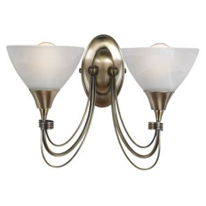 View Lights By B&Q Alfaro Antique Brass Effect 2 Lamp Double Wall Light details
