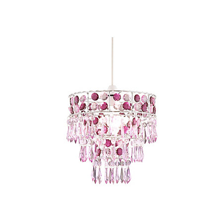 Emily Pink 3 Tier Beaded Pendant Light Shade (D)27cm | Departments ...