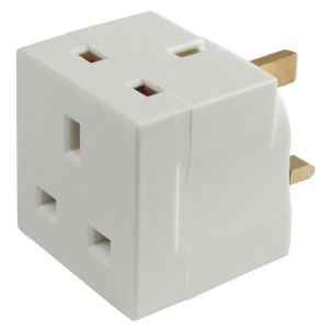 View B&Q White 240V 13A Adaptor details