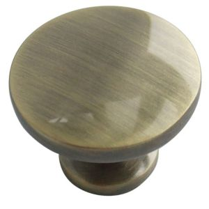 View Antique Brass Effect Classic Round Cabinet Handle, Pack of 6 details