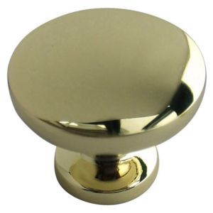View B&Q Polished Brass Effect Round Furniture Knob, Pack of 3 details