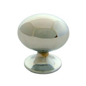 Image of B&Q Chrome Effect Oval Internal Knob Furniture Knob