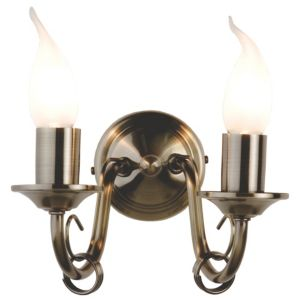 View Lights By B&Q Priory Antique Brass Effect 2 Lamp Candle Double Wall Light details