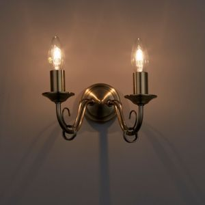 Image of Priory Brass effect Double Wall light