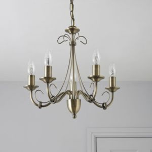 View Priory Antique Brass Effect 5 Lamp Pendant Ceiling Light details