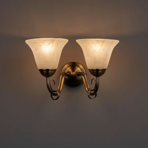Image of Manor Alabaster Brass effect Double wall light
