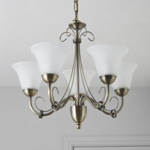 View Manor Antique Brass Effect 5 Lamp Pendant Ceiling Light details