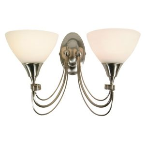 Image of Alfaro Alabaster Brushed Chrome Double Wall Light