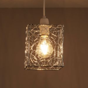 Image of Scribble Silver Cube Light shade (D)130mm