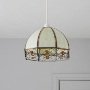 View Tiffany Domed Ivory Pendant Ceiling Light details
