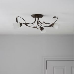 View Cloe Chocolate Brown Stainless Steel Effect 3 Lamp Ceiling Light details