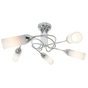 View Klute Loop Arm Chrome Effect 5 Lamp Ceiling Light details