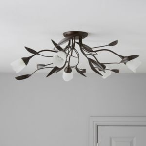 View Cloe Dark Brown Brushed 5 Lamp Ceiling Light details