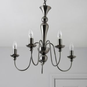 View Megan Black Nickel Effect 5 Lamp Pendant Ceiling Light details