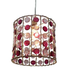 View Lights By B&Q Pink & Cranberry Beaded Cylinder Light Shade details