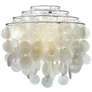 View Lights By B&Q Mindoro White Linen Effect 4 Tier Capiz Light Shade details