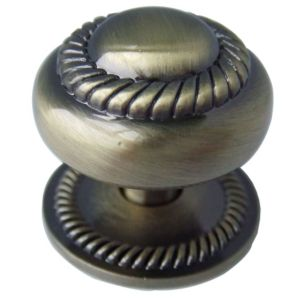 View Antique Brass Effect Country Round Cabinet Knob with Backplate details