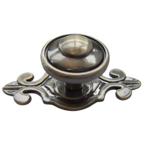 View B&Q Antique Brass Effect Round Furniture Knob with Backplate, Pack of 1 details