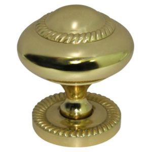 Image of B&Q Brass Effect Round Furniture Knob (L)42mm Pack of 1
