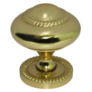 View B&Q Brass Effect Round Furniture Knob with Backplate, Pack of 1 details