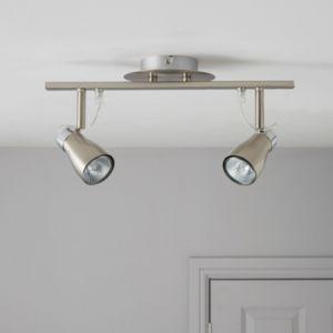 Jena Brushed Chrome Effect 2 Lamp Spotlight Bar